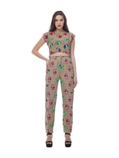 Beige Owl Print Top And Trouser Set - @ 499