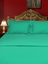 Cotton Percale Aqua Green Flat Twin Bed Sheet Set - Just Linen