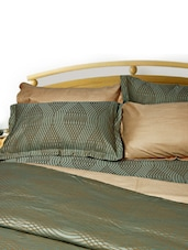 Uber Rare Cotton Damask Self Design Olive Green Extra Large Size Flat Bed Sheet Set - Just Linen