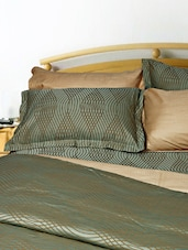 Uber Rare Cotton Damask Self Design Olive Green Queen Fitted Bed Sheet Set - Just Linen