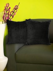 Set Of 2 Striped Black Fleece Cushion Covers - Just Linen