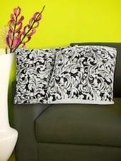 Set Of 2 Brasso Velvet Black And White Cushion Covers - Just Linen