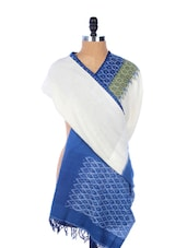 Off-white, Blue And Green Ikat Cotton Printed Kurta - Dupatta Bazaar
