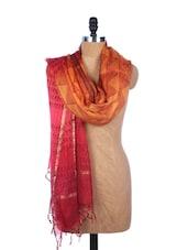 Red And Orange All-over Print Silk Dupatta - Dupatta Bazaar