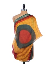 Mustard, Red And Black All-over Print Silk Dupatta - Dupatta Bazaar