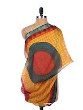 Mustard, Red And Black All-over Print Silk Dupatta - Dupatta Bazaar