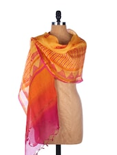 Hot Pink And Yellow Chevron Print Silk Dupatta - Dupatta Bazaar