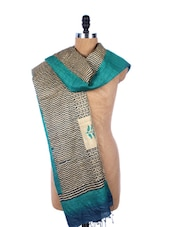 Beige Black And Blue Printed Silk Dupatta - Dupatta Bazaar