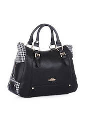 Stylish Black Houndstooth Tote Bag - Addons