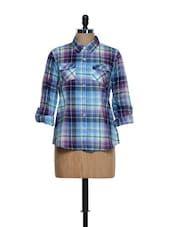 Blue And Purple Checkered Prints Roll-up Sleeved Cotton Shirt - Overdrive