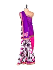 White And Pink Printed Saree - Saraswati