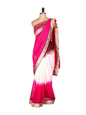 Pink And White Saree With Gold Border - Saraswati