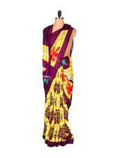 Yellow And Purple Printed Saree - Saraswati
