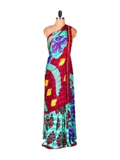 Light Blue And Dark Magenta Printed Saree - Saraswati