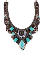 Black And Turquoise Blue Embellished Necklace - 80N