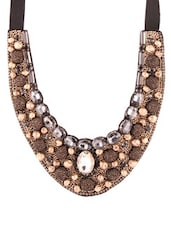 Antique Gold And Brown Embellished Necklace - 80N