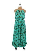 Rose Print Sea Green Maxi Dress - EVogue.Me