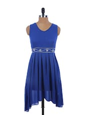Blue Chiffon Asymmetrical Dress - EVogue.Me