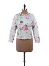 Floral Grey Full Sleeve Top - EVogue.Me