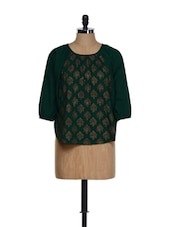 Dark Green Three-quarter Sleeved Traditional Block Printed Cotton Top - 9rasa