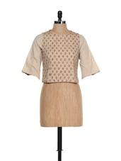 Traditional Beige Umbrella Sleeved Crop Top With Maroon Block Prints - 9rasa