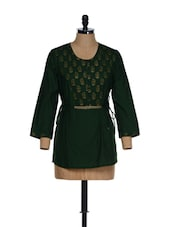 Dark Green Traditional Tunic With Block Prints And Dori Fastening At The Waist - 9rasa