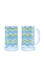 Chevron Peacock Beer Mugs Set Of 2 - The Elephant Company
