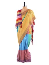Gorgeous Multi Coloured Colour Block Saree With Blouse Piece - ROOP KASHISH