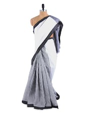 Gorgeous  Grey And White Saree With Blouse Piece - ROOP KASHISH