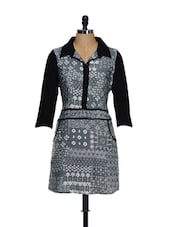 Grey And Black Cotton Printed Tunic - Ayaany