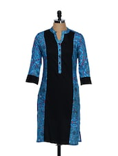 Black And Blue Traditional Print Cotton Full Sleeved Kurta - Ayaany