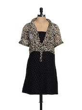 Black Trendy Dress With An Animal Print Top - Ayaany