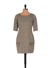 Wool Blend Straight Fit Dress - Nangalia Ruchira