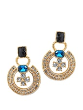 Circular Crystal Studded Earrings With A Blue And Black Stone - Maayra