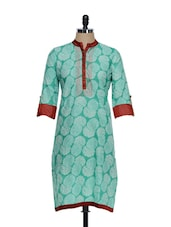 Sea Green Ethnic Print Cotton Kurta With A Maroon Placket - STRI