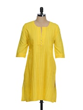 Bright Yellow Tuck Effect Cotton Kurta With Synthetic Pearls On The Placket - STRI