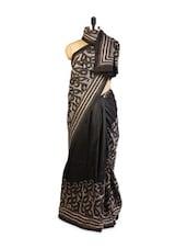 Black Tussar Silk Saree With Reverse Kantha Stitch - ZAHARA