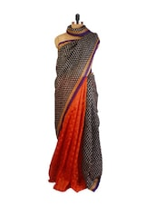 Orange And Black Chanderi & Jute Silk Saree - ZAHARA