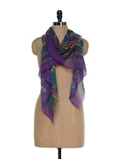 Multi Coloured Striped Printed Woollen Stole - Sage