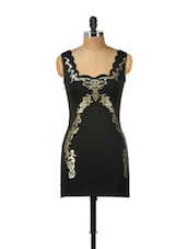 Sleeveless Black Dress With Gold Detailing - Ruby