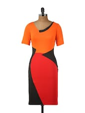 Vibrant Orange And Black Midi Dress - Ruby