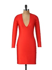 Red Scoop Neck Bodycon Dress - Ruby