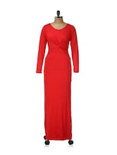 Red Long Sleeved Maxi Dress - Ruby