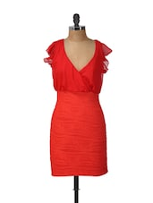 Bright Red Dress With Ruffled Sleeves - Ruby