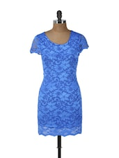 Blue Floral Lace Dress - Ruby