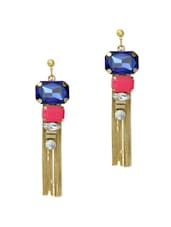 Fabulous Colourful Stone Studded In Gold Fringe Earrings - Blueberry