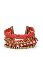 Trendy Red Stone Studded Bracelet - Blueberry