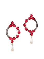 Fancy Earrings With Red Stones And American Diamonds - Rajwada Arts