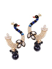 Traditional Peacock Earrings With Black Stone - Rajwada Arts
