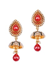 Red And Gold Teardrop Earrings With Red Stones - Rajwada Arts